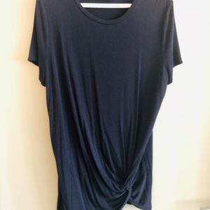 Ann Taylor Navy knit twist front tee